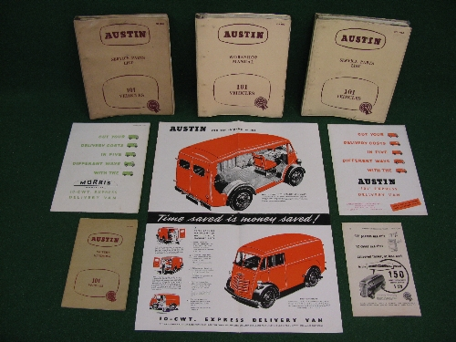 1950's Austin 101 and Morris Commercial 10cwt Express Delivery van items to comprise: workshop