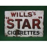 Double sided enamel sign for Will's Star Cigarettes, black shaded red letters on a white ground -