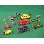 Assorted group of eleven metal vehicles from Timpo, Kembo, Corgi etc including an AA motorcycle