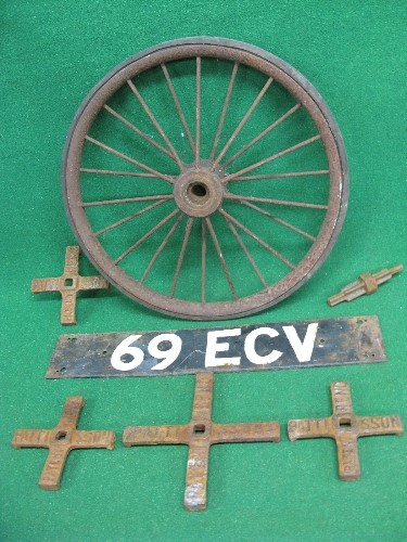 Four iron crosses embossed Pattisson Patent Reno, home-made number plate and a solid tyred spoked