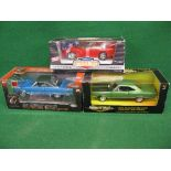 Three 1990/2000's ERTL 1:18 scale diecast cars to comprise: 1967 Plymouth Satellite, 1969 Plymouth