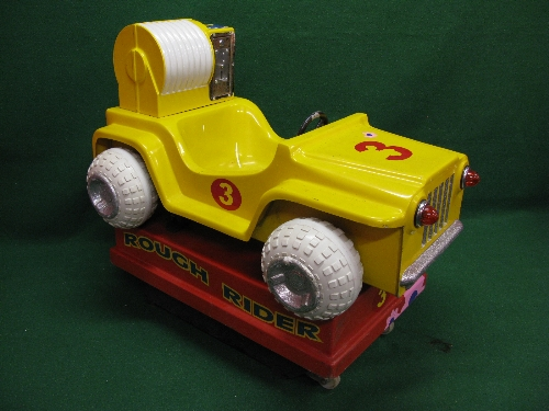 240 volt coin operated fibreglass childs Rough Rider jeep ride in yellow and red with flashing