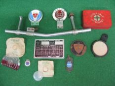 Badge bar with Caravan Club and East Sussex badges, two packaged Lucas King Of The Road lamp