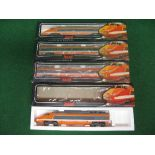 Jouef HO scale four car TGV train in orange and grey SNCF livery, all boxed (three unopened)