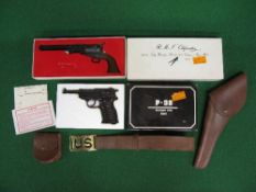 Two 1970's replica hand guns to comprise: military type Walther P38 and .36 US navy revolver (af),