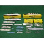 Quantity of Triang Minic Waterline model ships to include: RMS Queen Elizabeth and Aquitania, whales