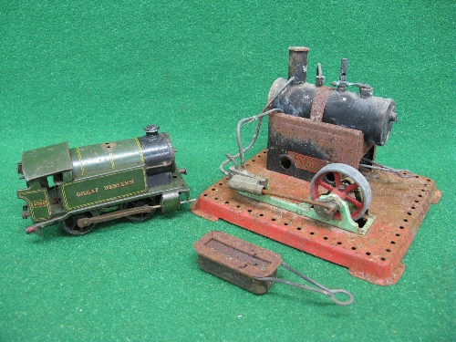 Early Mamod stationary steam engine with lever operated whistle and steam valve, two liquid Meths