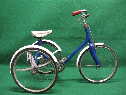 """An Unnamed all metal child's tricycle with sold tyred 16"""" dia wheels Please note descriptions are"""