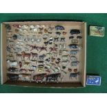 Quantity of early cast metal farm, wild and zoo animals to include: two bulldogs, three pelicans,