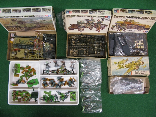 Box of WWII plastic kits and figures from Tamiya and Airfix together with quantity of Britains - Image 2 of 2