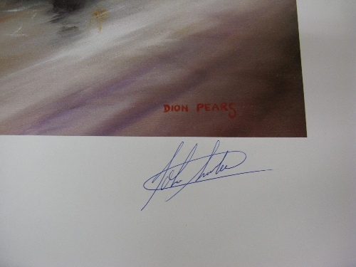 """Dion Pears, two identical motor racing prints signed by John Surtees and the artist - 30"""" x 24"""" - Image 2 of 2"""