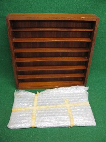"""Wooden six shelf display cabinet with sliding glass doors - 24"""" x 24"""", 3"""" spacing would suit model"""