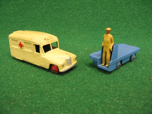 1950's Dinky 14A BEV Truck in mid blue with driver and tow hook together with 30H Daimler