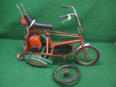 Bespoke Chopper-Roller, built utilising a Raleigh Chopper and Suffolk Punch lawnmower (with blades