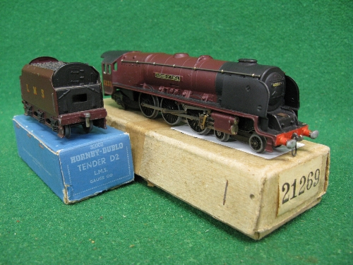 Hornby Dublo EDL2 3 Rail locomotive and tender No. 6231 Duchess Of Atholl in plain LMS maroon (