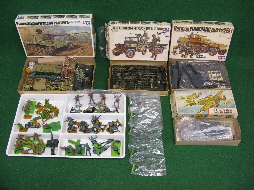 Box of WWII plastic kits and figures from Tamiya and Airfix together with quantity of Britains