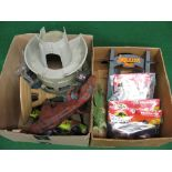 Two boxes of 1990's Jurassic Park plastic items to include: dinosaurs, structures, Jeep, accessories