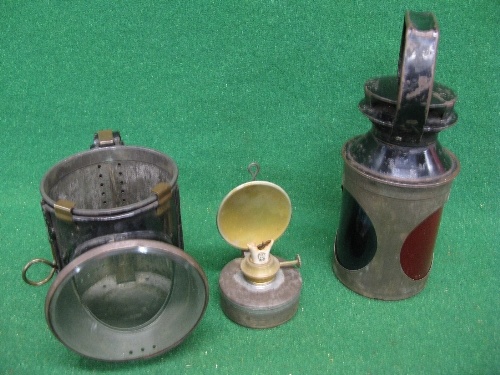 """Guards triple aspect oil hand lamp, burner and body embossed BR - 11"""" high Please note"""