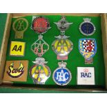 Twelve car badges to include: RAC, AA (including South Africa), Scott Owners Club, Civil Service