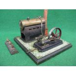 """Early Bing stationary steam plant comprising: 2.5"""" dia x 6"""" long boiler powering a twin cylinder"""