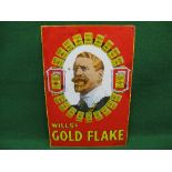 Enamel sign for Will's Gold Flake featuring a bearded gentleman with earring surrounded by twenty