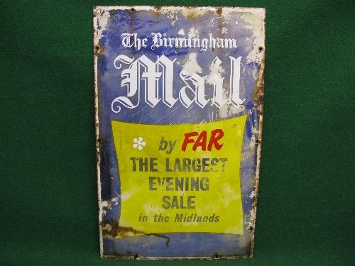 Enamel sign for The Birmingham Mail By Far The Largest Evening Sale In The Midlands, white, black