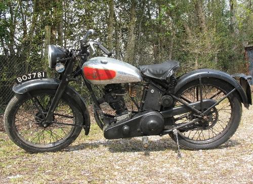 1935 Excelsior motorcycle. Registration No. BOJ 781. 149cc OHV four stroke with Burman hand change