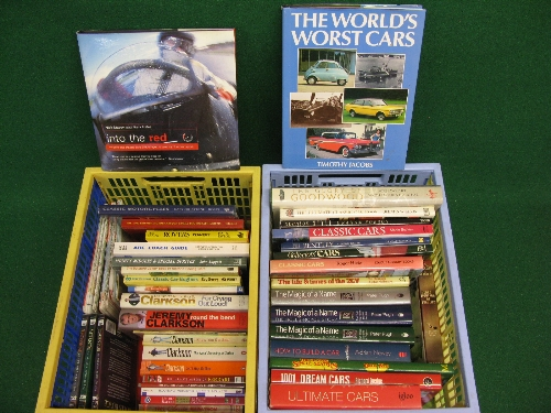 Two crates of approx forty hardback books on motoring and motorcycling together with a few related
