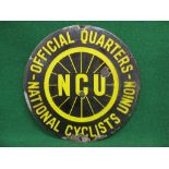 Circular enamel sign for National Cyclists Union-Official Quarters featuring a spoked wheel with NCU