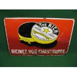 Foreign enamel sign for The Rich Finest Leather Polish featuring an open polish tin, in black, white