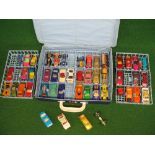 Matchbox carry case with four trays containing approx forty seven items of Lesney Matchbox, Corgi