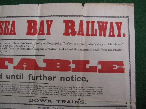 Rhondda & Swansea Bay Railway original large wall poster timetable dated 4th October 1920 Until - Image 2 of 3