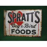 Double sided enamel advertising sign for Spratt's Dog And Bird Foods, black letters on a white