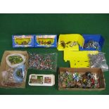 Box of Britains Knights Of The Sword, some boxed together with unmarked Knights and boxed Farm