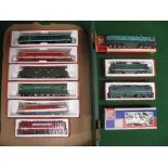 Ten different boxed HO scale Jouef SNCF overhead electric locomotives in various liveries Please