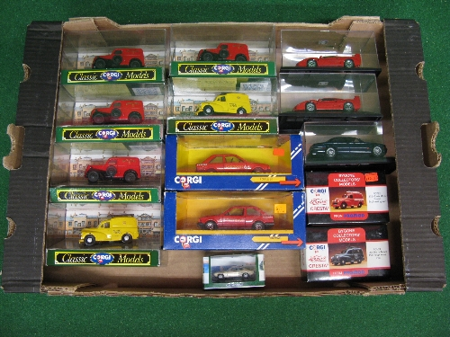 Box of fourteen items to comprise: Corgi Royal Mail/Post Office Telephones vehicles together with