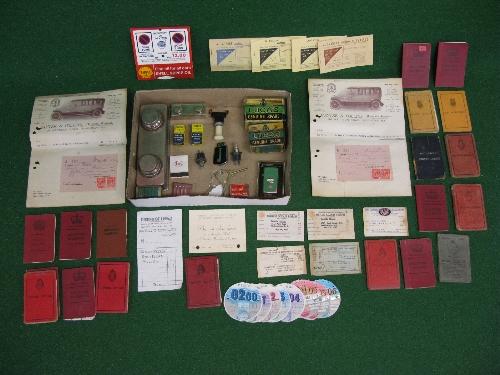 Quantity of motoring memorabilia, ration books, driving licences (one for Tanganika), AA and RAC
