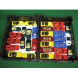 Two boxes of approx thirty one loose 1:37 scale Maisto diecast friction drive model cars to include:
