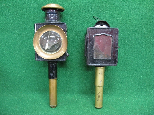 """Two different carriage lamps - one has brass capped chimney (cracked bullseye glass) - 17"""" total"""