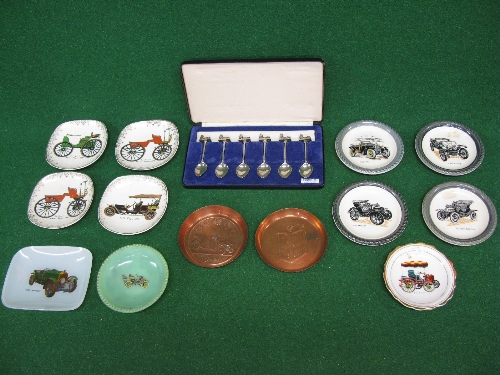 Thirteen china, brass and glass ash/coin trays with car or car motifs (four are Wade) together