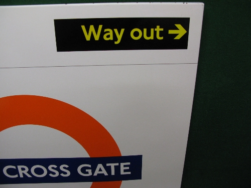 Modern large enamel Overground station sign for New Cross Gate with Way Out in top right corner - Image 2 of 2
