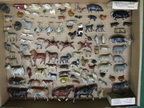 Quantity of early cast metal farm, wild and zoo animals to include: two bulldogs, three pelicans, - Image 2 of 2