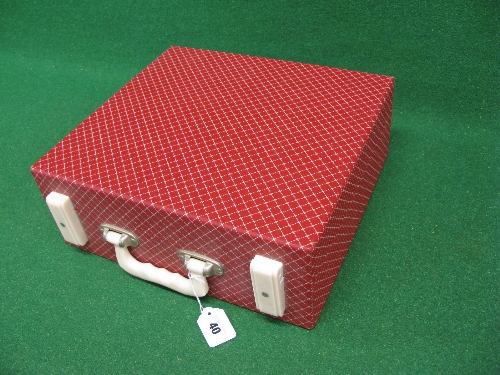 1950's/1960's Brexton picnic case for two in red, containing Brexton Thermos and Bamdalasta - Image 2 of 2