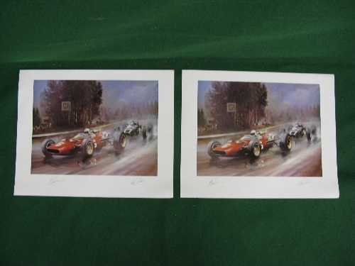 """Dion Pears, two identical motor racing prints signed by John Surtees and the artist - 30"""" x 24"""""""