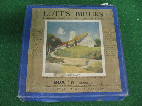 Pre-War Box A of Lott's Bricks, made from real stone (box rough and contents unverified) Please note