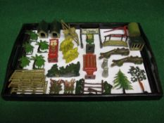 Tray of cast metal accessories to include: stiles, footbridge, chocolate machine, two kennels,