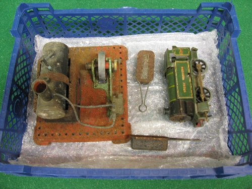 Early Mamod stationary steam engine with lever operated whistle and steam valve, two liquid Meths - Image 2 of 2