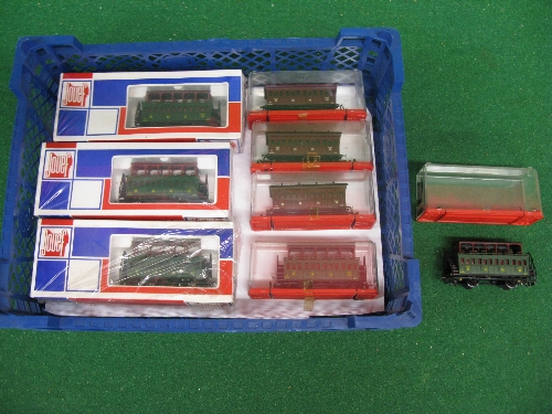 Eight boxed Jouef HO scale four wheel single and double deck carriages in brown or green ETAT livery