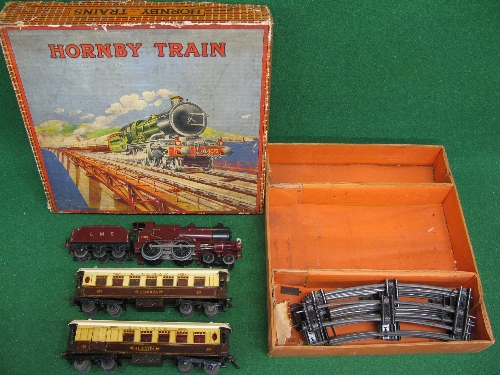 Late 1920's/early 1930's Hornby O gauge No. 2 Special Pullman Set containing: LMS clockwork compound - Image 2 of 4