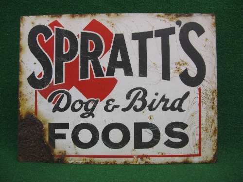 Double sided enamel advertising sign for Spratt's Dog And Bird Foods, black letters on a white - Image 2 of 2